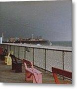Benches Of Seaside Heights Nj Metal Print by Joann Renner