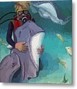 Benevolent Creatures At Stingray City Metal Print