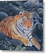 Bengal Tiger Wild Life Realistic Painting Water Color Handmade Artwork India Uk Metal Print