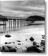 Bennet Bay Pier Black And White Metal Print
