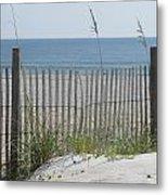 Bent Beach Fence Metal Print