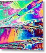 Benzoic Acid Crystals In Polarized Light Metal Print