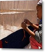 Berber Girl Working On Traditional Berber Rug Ait Benhaddou Southern Morocco Metal Print