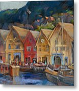 Bergen Bryggen In The Early Morning Metal Print
