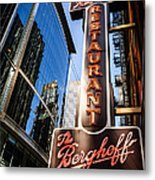 Berghoff Restaurant Sign In Downtown Chicago Metal Print
