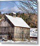 Berkshire Barn In Winter Metal Print
