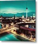 Berlin Germany Major Landmarks At Night Metal Print