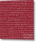 Berlin In Words Red Metal Print
