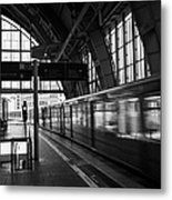 Berlin S-bahn Train Speeds Past Platform At Alexanderplatz Main Train Station Germany Metal Print by Joe Fox