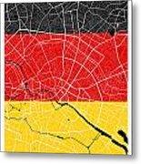Berlin Street Map - Berlin Germany Road Map Art On German Flag Background Metal Print