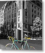 Berlin Street View With Bianchi Bike Metal Print