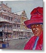 Bermuda Lady In Red And Cop Metal Print