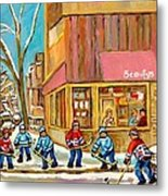 Best Sellers Original Montreal Paintings For Sale Hockey At Beauty's By Carole Spandau Metal Print