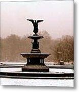 Bethesda Fountain Snow Metal Print