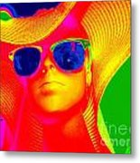 Betsy In Blue Sunglasses Metal Print