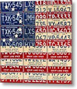 Betsy Ross American Flag Michigan License Plate Recycled Art On Red Board Metal Print