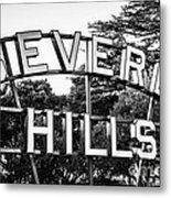 Beverly Hills Sign In Black And White Metal Print