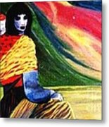 Bhutanese Mother And Baby Metal Print