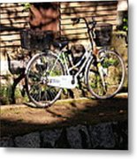Bicycle And Baskets Kyoto - Philosophers' Walk Metal Print