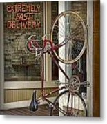 Bicycle Attached To Wall Outside Of Fast Food Restaurant Metal Print