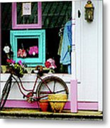 Bicycle By Antique Shop Metal Print