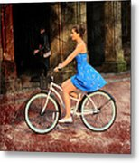 Bicycle Girl 1c Metal Print