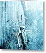 Bicycle In Blue Metal Print