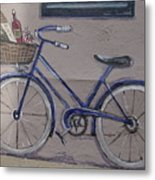 Bicycle Leaning On A Wall Metal Print