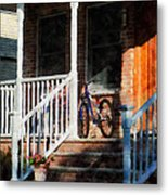 Bicycle On Porch Metal Print