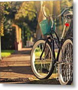 Bicycle On Sunny Street Metal Print
