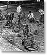 Bicycle Repair In Amarapura Metal Print