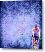 Bicycle Rider On Blue Background Metal Print
