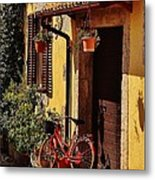 Bicycle Under The Porch Metal Print