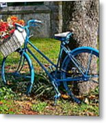 Bicycle With Basket Of Flowers Metal Print