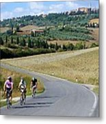 Bicycling In Tuscany Metal Print