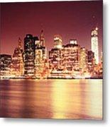 Big Apple - Night Skyline - New York City Metal Print
