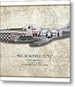 Big Beautiful Doll P-51d Mustang - Map Background Metal Print by Craig Tinder