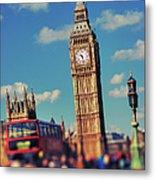 Big Ben And Commuter Traffic Metal Print