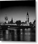 Big Ben And The Houses Of Parliament  Bw Metal Print