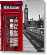 Big Ben Red Telephone Box Metal Print