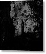 Big Ben Street Black And White Metal Print
