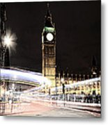 Big Ben With Light Trails Metal Print