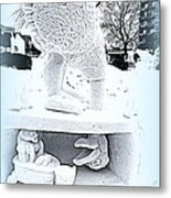 Big Bird Snow Sculpture Metal Print
