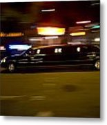 Big Black Limo Cruising Through The City Metal Print