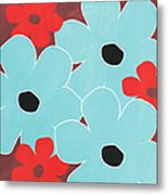 Big Blue Flowers Metal Print