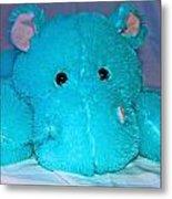Big Blue Teddy Metal Print