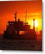 Big Boat At Sunset  Metal Print