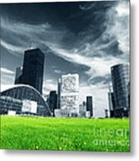 Big City And Green Fresh Meadow Metal Print