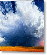 Big Cloud In A Field Metal Print