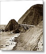 Big Creek Bridge Double Arched Concrete Bridge On Highway 1. About 40 Miles South Of Monterey  1935 Metal Print